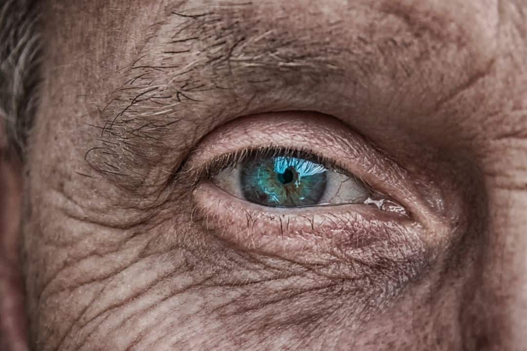 man's eye perfectly in focus