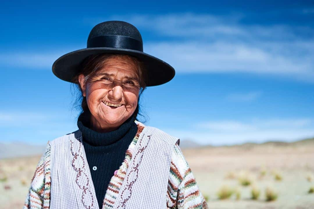 portrait of a woman in bolivian salt flats