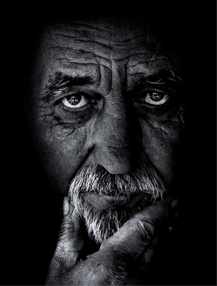 wrinkled old man face portrait