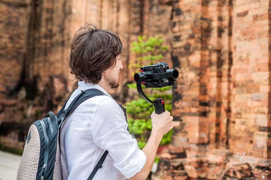 videographer using a gimbal