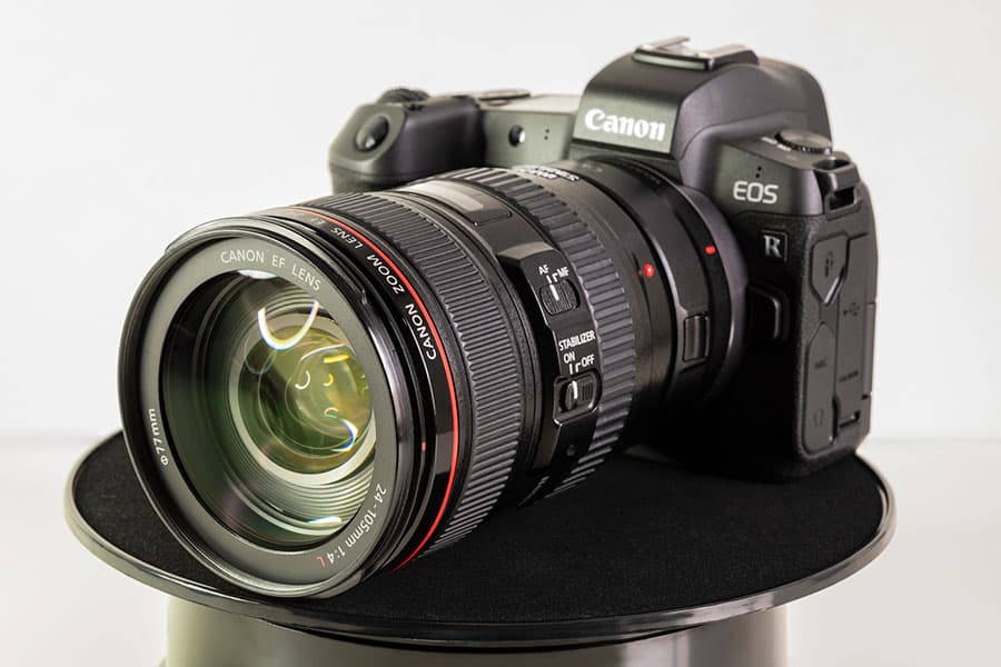 canon eos r camera with a canon L series zoom lens