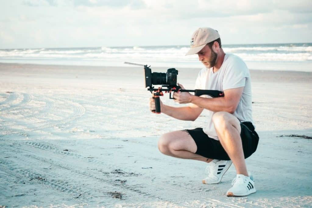 shooting a video at the beach
