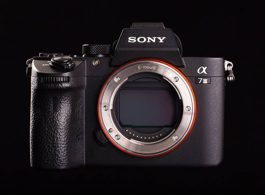 sony A7III with its sensor exposed