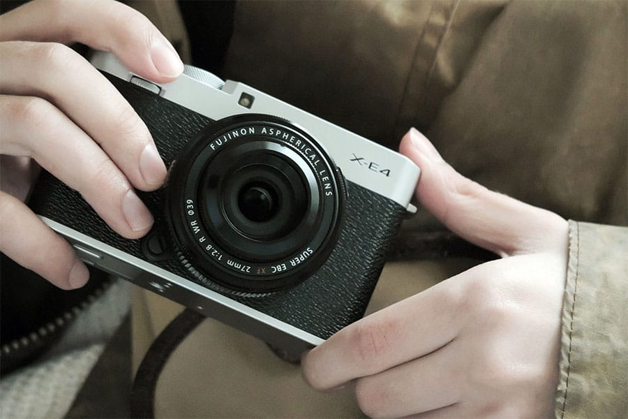 fujifilm x-e4 mirrorless camera with a 27mm lens