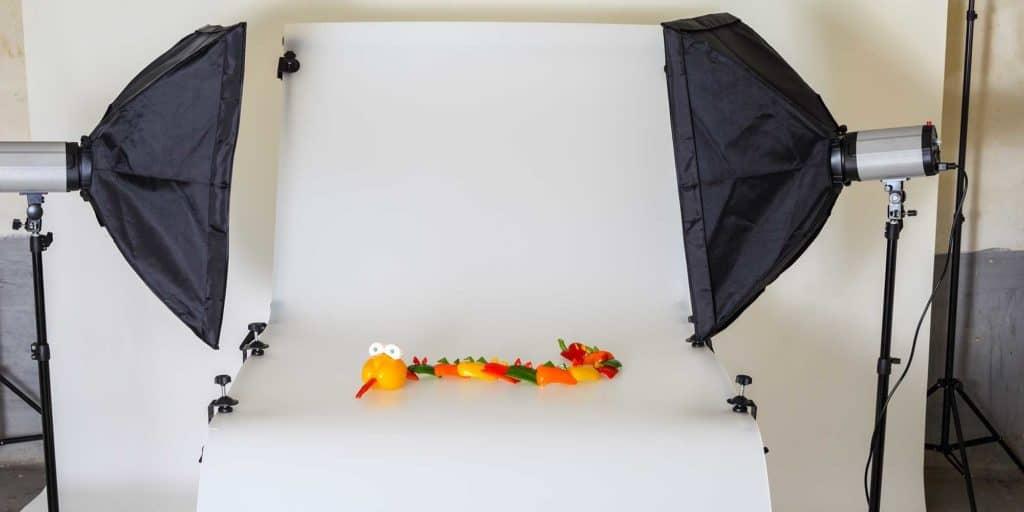 product photography setup with studio lights