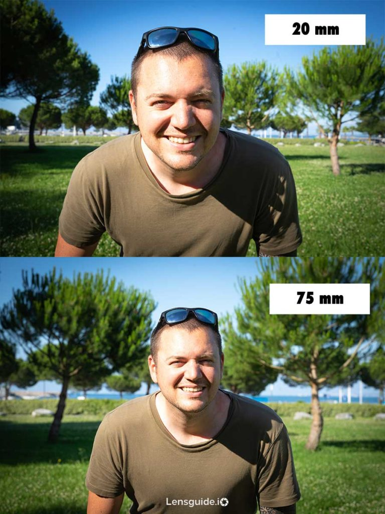 rudy dewatine portrait in 20mm compared to 75mm focal lengths